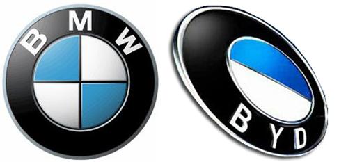 Das alte Logo von BYD im Vergleich mit BMW
