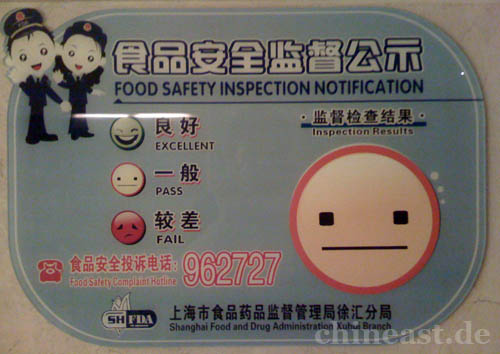 Food Safety Inspection sign in Shanghai